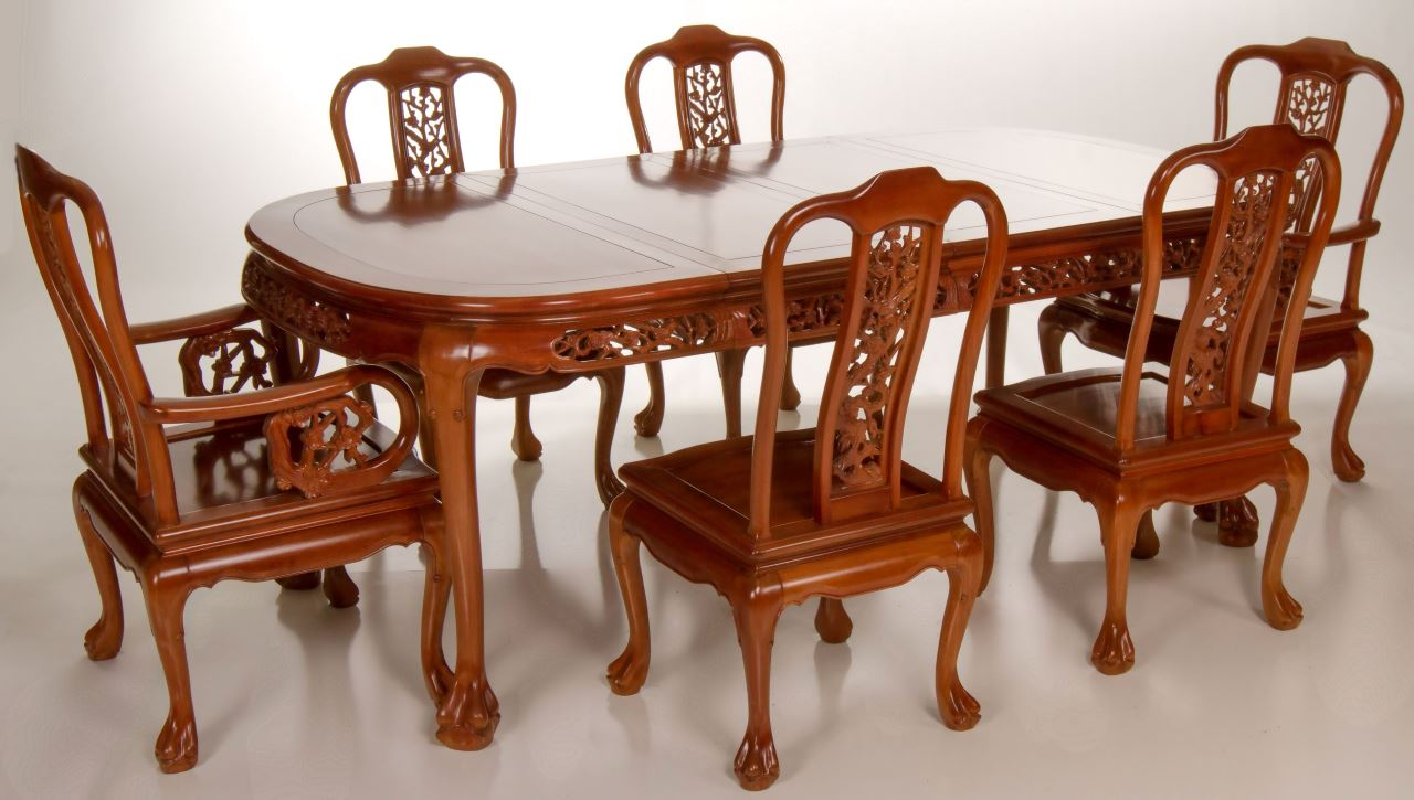 Far eastern furnishings solidwood oriental chinese for Oriental dining table and chairs